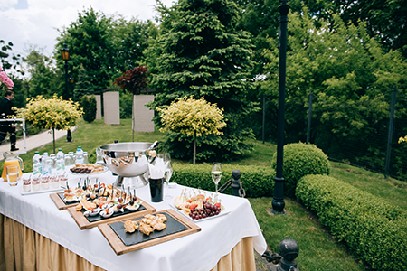 outdoor wedding with food and drink
